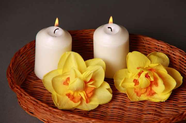 aromatherapy bamboo basket candlelight
